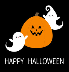 happy halloween two flying ghost spirit and vector image
