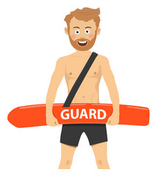 Happy male lifeguard rescue on duty vector