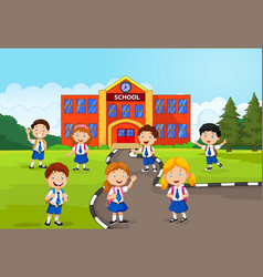 happy school children in front of the school vector image