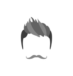Hipster Male Hair and Facial Style With Handlebar vector