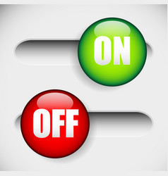 Horizontal on and off power button at 2 states ui vector
