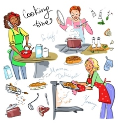 Housewifes cooking vector image