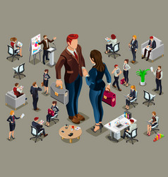 Isometric people in business suit vector