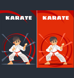 Karate kid design templates kids sports vector