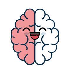 Kawaii brain icon vector