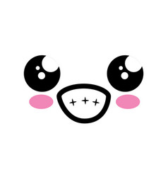 kawaii cartoon face vector image
