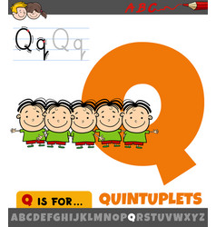 Letter q from alphabet with quintuplets kids vector