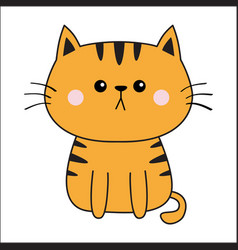 linear orange red cat sad head face silhouette vector image
