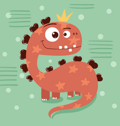 Little princess cute dino - funny vector