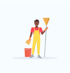 man holding broom african american guy cleaner vector image