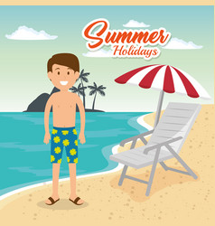 man in the beach character vector image
