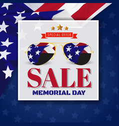 memorial day sale promotion banner background vector image