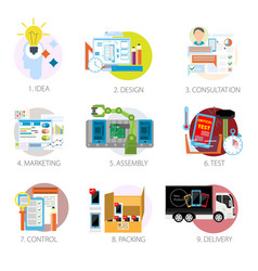 Modern gadgets and devices production and selling vector