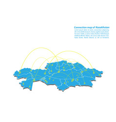 Modern of kazakhstan map connections network vector
