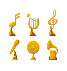 music awards or gold trophy cups in art industry vector image