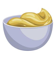 Mustard sauce bowl icon cartoon style vector