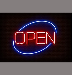 Neon open sign light isolated on dark red b vector