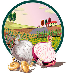 Oval frame with agricultural landscape and onions vector