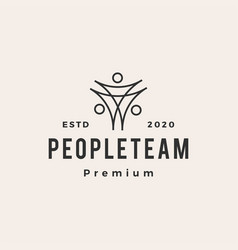 people family team hipster vintage logo icon vector image