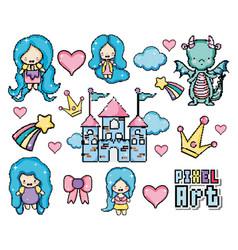 Pixel art fantasy world vector
