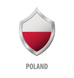 poland flag on metal shiny shield vector image