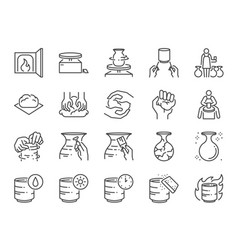 Pottery line icon set vector