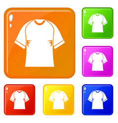 Raglan tshirt icons set color vector