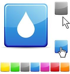 Rain glossy button vector image