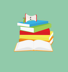 reading concept pile books and opened book vector image