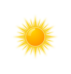 Realistic sun icon for weather design sunshine vector