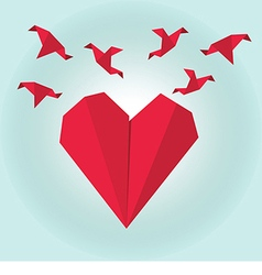Red paper origami heart with flying origami birds vector