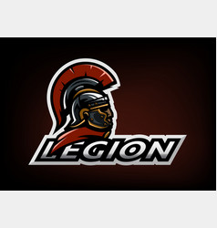 roman legionnaire logo on a dark background vector image