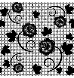 Seamless background of black lace vector image
