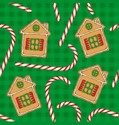 seamless pattern candy cane and gingerbread vector image