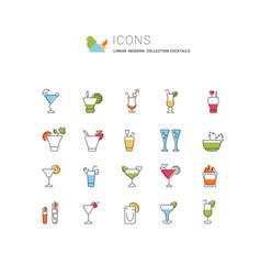 Set line icons cocktails vector
