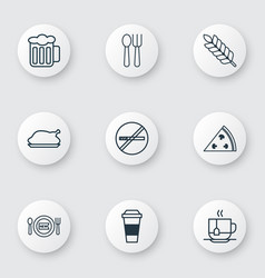 Set of 9 meal icons includes ale cutlery vector