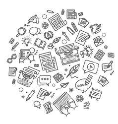 set of copywriting related line icons vector image