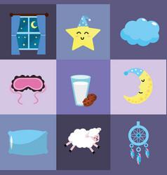set sleeping thing with good dreams at night vector image