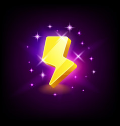 shining yellow lightning icon for online casino or vector image