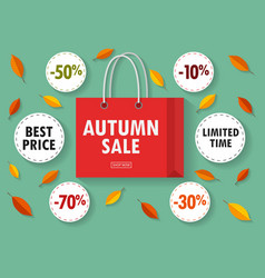 shopping bag with autumn sale on white background vector image