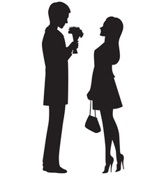 Silhouette of couple on a date vector image