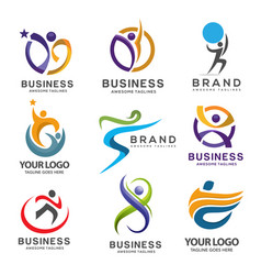 Simple modern abstract fitness logo set vector
