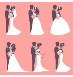 Six wedding couples vector