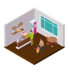 small coffee cafe or shop isometric vector image