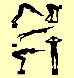 Swimmer gesture silhouette 01 vector
