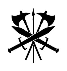 Swords with axes and spear vector