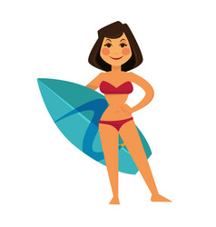 Tanned woman in maroon swimsuit and blue surfboard vector