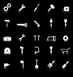 Tool icons with reflect on black background vector