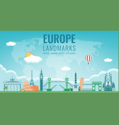 Travel composition with famous europe landmarks vector