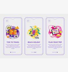 Trendy time to travel mobile app splash onbard vector